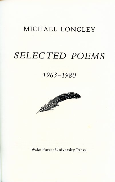 Selected Poems 1963–1980 by Michael Longley (title page)
