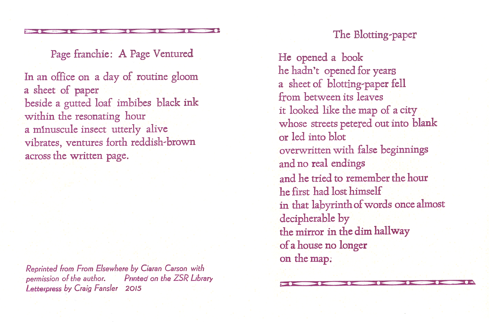 """Page franchie: A Page Ventured"" and ""The Blotting-paper"" Broadside"